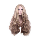 Rise World 30 inch 75cm Womens Two Tone Long Wavy Wig Brown Mixed Blonde Ombre Carve Full Wig