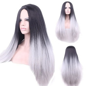 Rise World 32 inch 80cm Women's Harajuku Long Straight Wig Two Tone Wig Black Roots to Grey Carve Full Wig