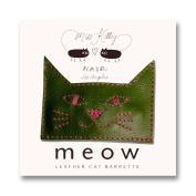 MEOW! Leather Kitty Barrette - Large - Army Green