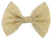 Floral Lace Bow Metal Alligator Hair Clips, Approx. 13cm x 8.9cm , Beige