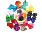 12 pcs 20cm Huge Big Bow Clip Boutique Hair Bows For Girls Kids Children Women Alligator Hair Clips Grosgrain Ribbon Bows Hair Bands