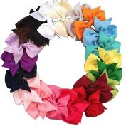 Onwon 20 Pcs 7.6cm Wholesale Grosgrain Ribbon Boutique Hair Bows Girls Kids Children Alligator Clip Headbands For Teens Baby Girls Babies Toddlers 20 Colour