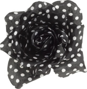 White & Black Polka Dot Rose Hair Clip from Sourpuss Clothing