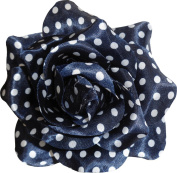 Navy Blue White Polka Dot Rose Hair Clip from Sourpuss Clothing