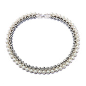 Lvxuan Noble Women Jewellery New Fashion Double Layer Created Simulated Pearls Choker Necklace