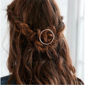 Joyci 1Pcs Creative Hoop Round Ponytail Holder Women's Geometric Metal Hair Pin