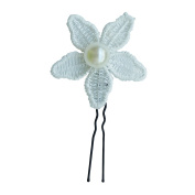 Rarelove Bridal White Faux Pearl Daisy Flower Hair Pin Accessory For Wedding Occasions