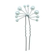 Rarelove Bridal White Faux Beads Flower Hair Pin Accessory For Wedding Occasions