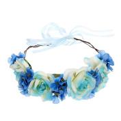 Flower Wreath Headband Garland Halo with Adjustable Ribbon for Wedding Festivals