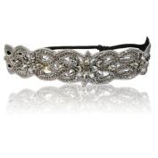 Bridal or Bridesmaid Encrusted Diamond Rhinestone Headband Adjustable Non-slip Comfortable for Wedding Day