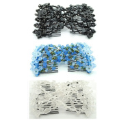 Casualfashion 3Pcs Lady Women Girl Fancy Morning Glory Flower Hair Combs Double Clips for Hair Styling