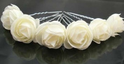ZIJING 10 pcs 3cm Ivory White Fashion Hair Small Flower Clip Bridal Girl Women For Wedding Prom Party