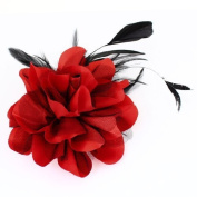 FOREVER YUNG Ladies Wedding Party Black Red Mesh Flower Design Hairclip Brooch