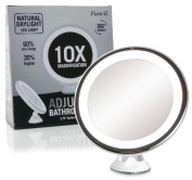 Daylight LED Magnifying Makeup Mirror 10X - Portable Cosmetic Beauty Mirror with Light - Cordless, Battery Operated, Locking Suction Mount, 360 Swivel, Illuminated Bathroom Vanity Mirror for Travel