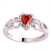 Empsoul 925 Sterling Silver Natural Novelty Filled Ruby Spinel & White Topaz Heart Shaped Halo Wedding Bridal Ring