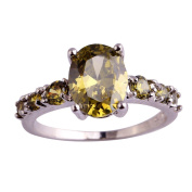 Empsoul Women's 925 Sterling Silver Natural Chic Filled 7-Stone Oval Cut Peridot Topaz Engagement Proposal Ring