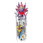 New design and hot selling Full arm colourful fish and lotus realistic and fake temp tattoo stickers for adults