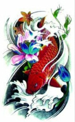 New design and hot selling Lotus with red fish swimming in the water fish realistic and fake temp tattoo stickers