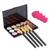 Toraway Pro 15 Colours Makeup Concealer Contour Palette + 4pcs Powder Brushes + 4 PCS Sponge Blender