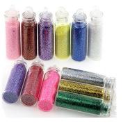 Small Bottles Nail Art Glitter Powder for UV Nail Gel