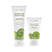 Acure Organics Kelp Brightening Facial Scrub and Cell Stimulating Facial Mask Bundle With Argan Oil, CoQ10, Sea Buckthorn Oil, Algae, Rosehips and Chlorella Growth Factor, 120ml and 50ml