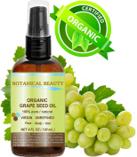 ORGANIC GRAPE SEED Oil. 100% Pure / Virgin / Undiluted Cold Pressed Carrier Oil for Skin, Hair, Massage and Nail Care. 4 Fl. oz- 120 ml