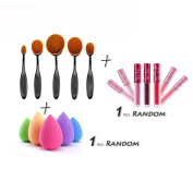 Creazy® 5PCS Toothbrush Brushes+1 PC Sponge Puffs+1 PC Lip gloss