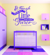 Design with Vinyl RAD 714 3 & Though She Be But Little She Was Fierce Shakespeare Quote Baby Girl Bedroom Wall Decal, Purple, 50cm x 80cm
