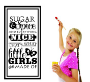 Design with Vinyl RAD 735 2 Sugar & Spice Everything Nice That's What Little Girls Are Made of... Teen Baby Bedroom Quote Design Wall Decal, Black, 41cm x 60cm