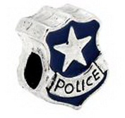Pugs & Pandoras Blue Enamel Police Officer Badge Bead for Silver European Jewellery Charm Bracelet PP20913