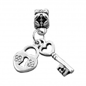 Bling Stars Love Charm Key to My Heart Love Lock Key Dangle European Beads Fit Pandora Bracelets