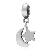 Choruslove Moon Star Pendant 925 Sterling Silver Islamic Crescent Symbol Charm Bead for European Style Bracelet or Necklace