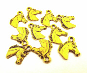 Set of Ten (10) Gold Tone Pewter Horse Head Charms