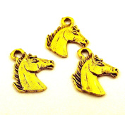 Set of Three (3) Gold Tone Pewter Horse Head Charms