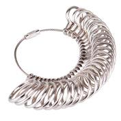 Kuuqa Size 1-13 Stainless Iron Ring Sizer Finger Ring Sizing Measuring Tool Ring Sizer Gauge Set 27 Pieces Circle Models