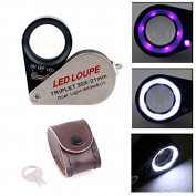 30X Magnification 21mm Triplet Jewellers Loupe w/ LED & UV Dual illumination