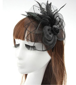 Black Big Flower Mesh Feather on Hair Clip Headwear Fascinator,Wedding Headwear Bridal Headpiece for Women