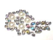 CB053-12 Diamante & Pearl Self Adhesive Stick on FLOWER Drop Gems Wedding CRAFT