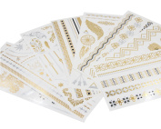 Goswot 8 Sheets Fashion Body Art Stickers Removable Waterproof Temporary Metallic Tattoos