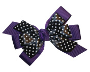Webb Direct 2U Girls Black Dotted GrosGrain Hair Bow French Clip Plum 8008FC