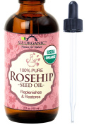 #1 Organic Rosehip Seed Oil - USDA Certified Organic, 100% Pure & Natural, Cold Pressed Virgin, Unrefined, Amber Glass Bottle and Glass Eye Dropper for Easy Application - US Organic - (2 oz