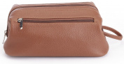 ROYCE Toiletry Travel Wash Bag in Pebbled Genuine Leather - Tan