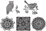 Crafter's Workshop Templates - 30cm x 30cm - Doodle Bloom, Wise Owl, Tweet, Gin Blossom & Sweet Posey