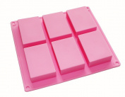 GBSTORE 6 cavity Plain Basic Rectangle Soap DIY Mould Silicone Mould for Homemade Craft