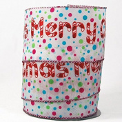"Glittery Polka Dot ""Merry Chrismtas"" Satin Wired Ribbon"