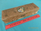 Vintage knitting crochet needle box sewing wooden w/ woman or jewellery box 29cm