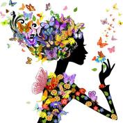 Kisstaker 20x20cm Square Drill Diy Diamond Painting Set Embroidery Cartoon Beauty Flower Fairy Full Rhinestones