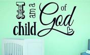 "Design with Vinyl RAD 1105 5.1cm I Am A Child Of God Kids Baby Boy Girl Bedroom Bible Quote"" Vinyl Wall Decal, 41cm x 60cm , Black"