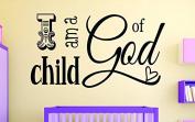 "Design with Vinyl RAD 1108 5.1cm I Am A Child Of God Kids Baby Boy Girl Bedroom Bible Quote"" Vinyl Wall Decal, 41cm x 60cm , Black"
