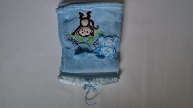 Little Mimos Soft Baby Blanket, 80cm x 80cm Silly Monkey (Blue )